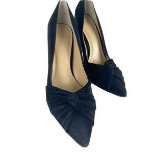 Marc Fisher Black Suede Twist Bow Point Heels PD10